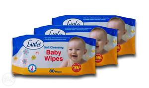 Little's Soft Cleansing Baby Wipes (Pack of 3, 80 Wipes) -