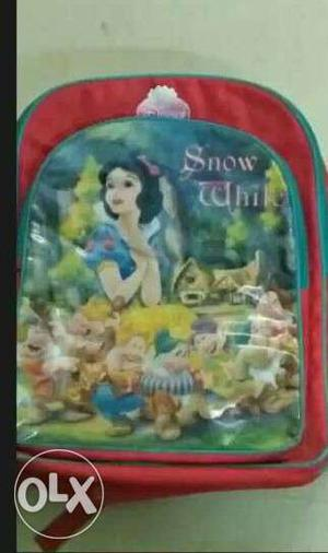 Red coloured Disney Snow white bag for girls with