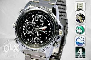 Round Black Chronograph Watch With Silver Link Band
