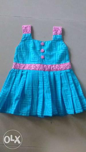 Toddler Girl's Blue And Pink Sleeveless Flare Dress
