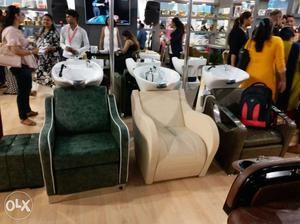 2 Green And Beige Sofa Chairs