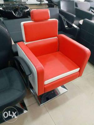 Red And White Leather Salon Chair