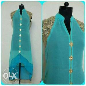 Teal And Brown Sleeveless Chiffon Dress Collage