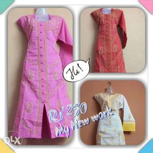 Three Assorted Color Traditional Dresses Collage