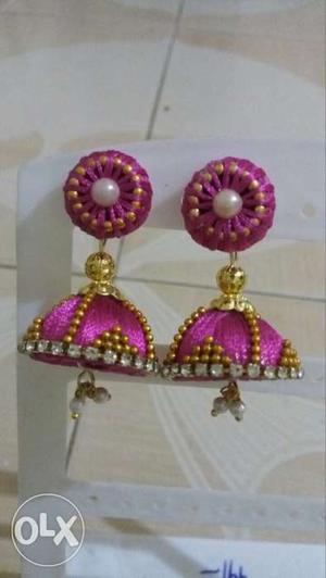 Two Pink Silk Thread Jhumka Earrings