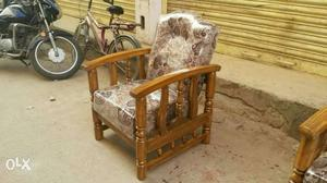 Brown Floral Cushioned Brown Wooden Amrchair
