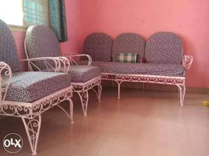 Iron bars fram sofa set 3+2 with 2 months old