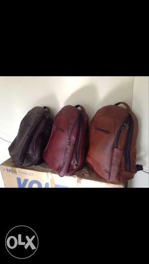 Three Assorted Color Leather Backpacks