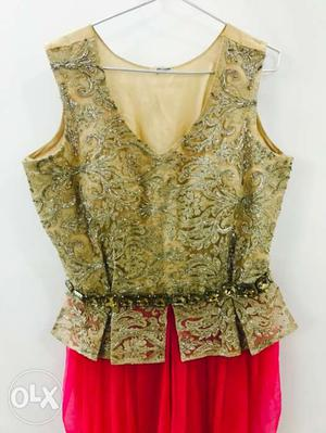 Beige And Pink V Neck Dhoti Style Sleeveless Dress