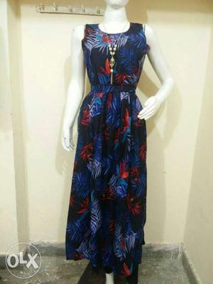 Blue, Red, And Black Floral Sleeveless Maxi Dress