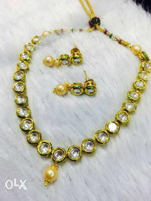 Gold Embellished With Diamonds Necklace With Pair Of