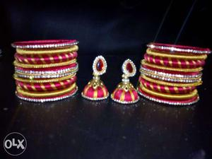 Red And Yellow Silk Bangles And Jhumkas Earrings