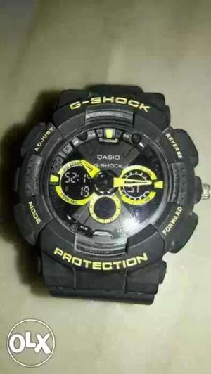Round Black And Yellow G-Shock Casio Chronograph Digital