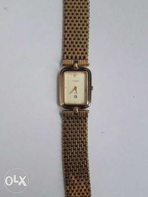 Square Faced Brown Analog Watch With Brown Milanese Band