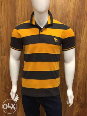 Yellow And Black Striped Abercrombie Polo Shirt