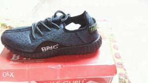 Black And Grey BNG Low Top Sneaker On Box