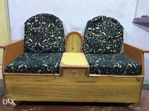 Brown Wooden Frame Green Cushioned 2-seat Couch