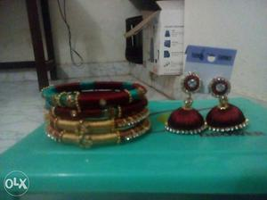 Red-and-brown Thread Jhumka Earrings With Three Bangles