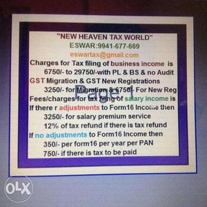If your Income is /- or more then Income Tax filing is