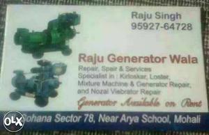 White Raju Singh Calling Card