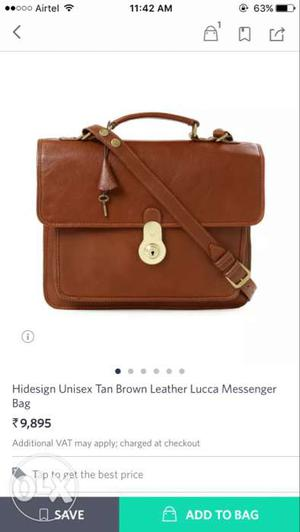 Original Hidesign Brown Leather Messenger Bag In new