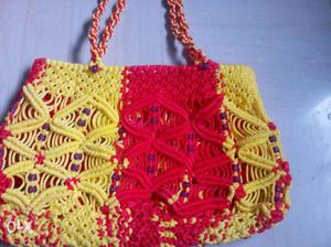 Red And Yellow Knitted Purse