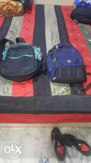 Black And Teal Backpack With Purple And Black Backpack