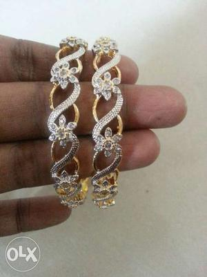 2 Gold And Diamond Beaded Floral Bracelets