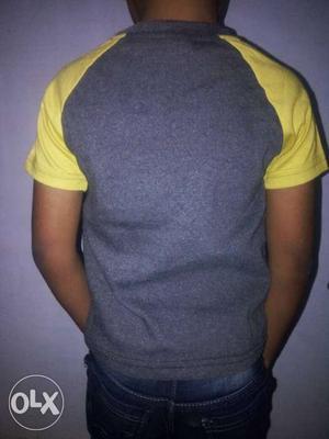 Gray And Yellow Raglan Shirt