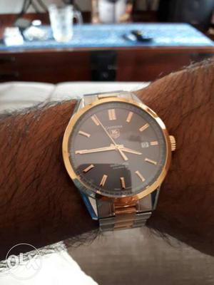Luxury watch, Tag Heuer Two tone automatic watch with bill &