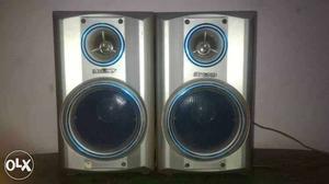 Two Gray Audio Speakers