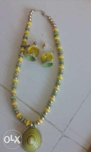 Yellow And Green Jewelry Set