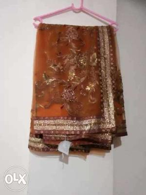 Brown And Gold Colored Dupatta