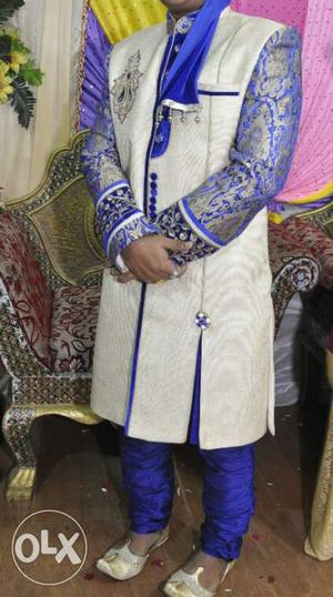 Men's White And Blue Sherwani