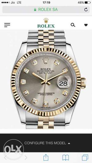 Rolex datejust unused with diamonds inside