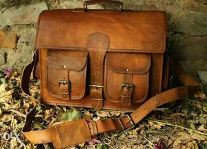 Classic leather messenger bag Satchel Laptop