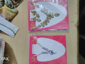 Two Gold And Silver Diamond Necklaces