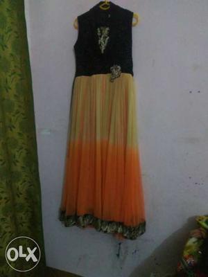 Black And Orange Chiffon Trimmed Sleeveless Long Dress