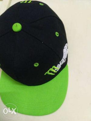 Blakc And Green Monster Energy Fitted Cap