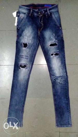 Blue-washed Denim Jeans