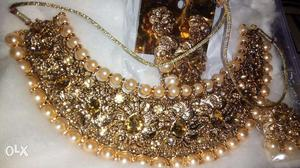 Buy Gold Plated Necklace Set with Earrings