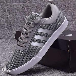 Gray And White Adidas Athletic Shoe