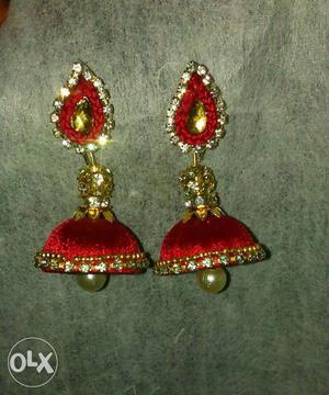 Pair Of Red \silk Thread Jhumka Earrings
