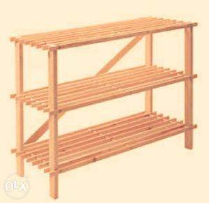 Beige Wooden 3-layer Shelf shoe rack
