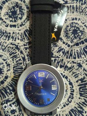 Fastrack with royal blue dial and black band