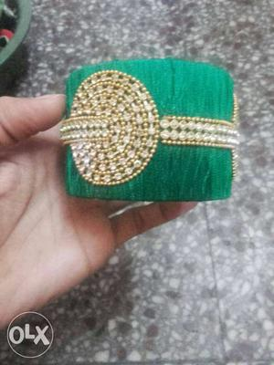 Green And Gold Rhinestone-studded Bangle Bracelet