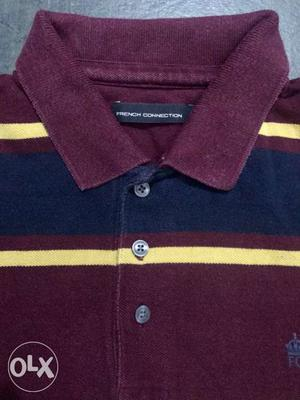 Maroon And Blue Polo Shirt