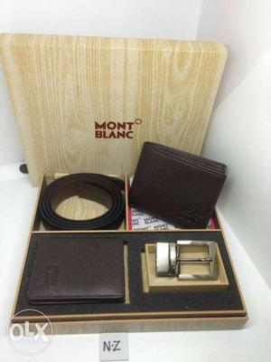 Brown Mont Blanc 2 ps Leather Wallet And Belt Set In Box