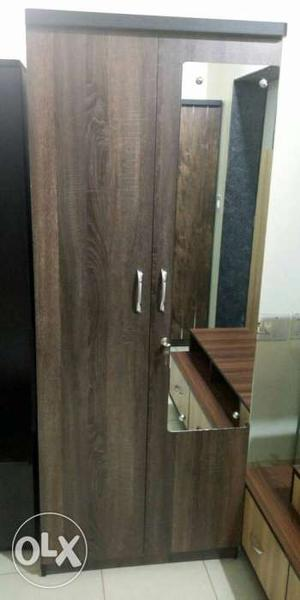 Brown Wooden 2 door Wardrobe With Mirror