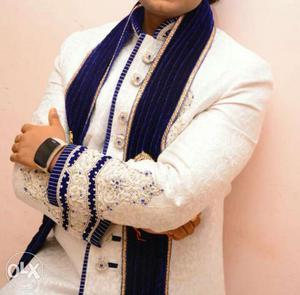 Men's White And Blue Wedding indo western sherwani
